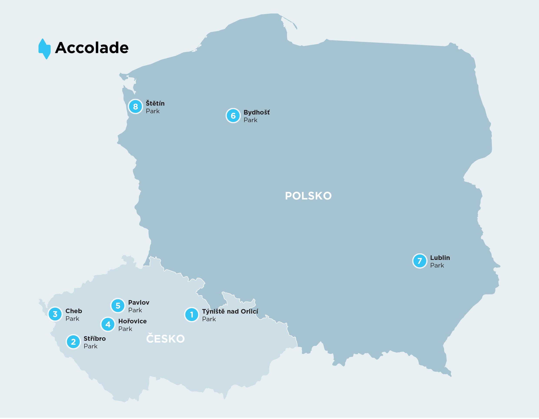 Mapa Accolade Parků